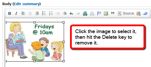 Click the image to select it, then hit the Delete key to remove it.