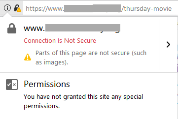 Firefox mixed content with padlock warning