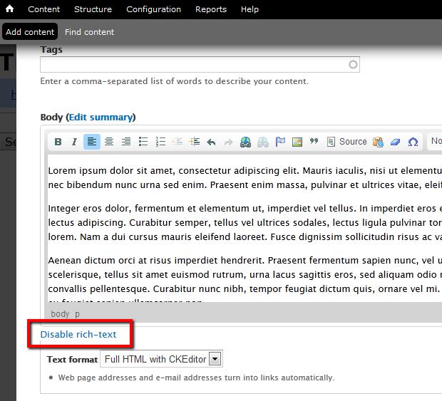 disable rich-text   Drupal Documentation for SCLS
